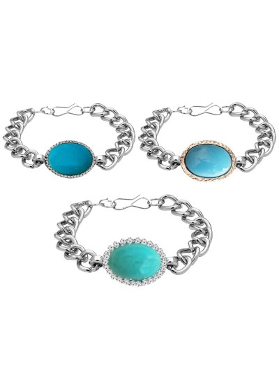 Menjewell New Classic Collection Blue::Silver Salman Khan Style Link Chain Design Bracelet Combo