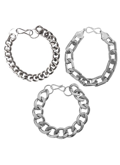 Menjewell silver South Indian Style Oval Cable Chain Design Metal Bracelet Combo For Men & Boys