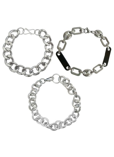 Menjewell Black::Silver South Indian Style Oval Cable Chain Design Metal Bracelet Combo For Men & Boys