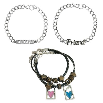 "Menjewell New Classic Collection Multicolor Friendship Day Special ""Friend"" Letter Design With Couple Bracelet Combo For Men"