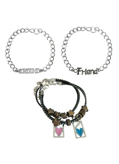 """Menjewell New Classic Collection Multicolor Friendship Day Special """"Friend"""" Letter Design With Couple Bracelet Combo For Men"""