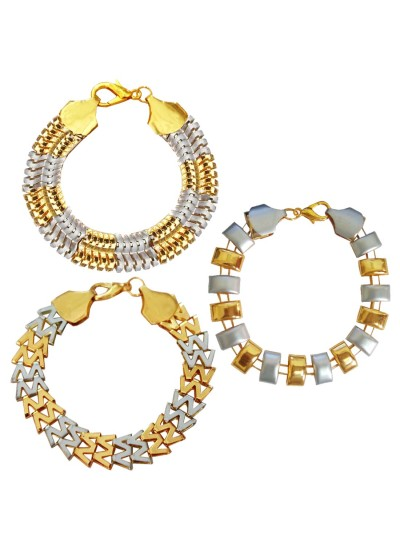 Menjewell New Classic Collection Gold::Silver South Indian Style Multi Design Bracelet Combo