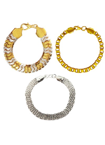 Menjewell New Classic Collection Gold::Silver South Indian Style Multi  Metal Design Bracelet Combo