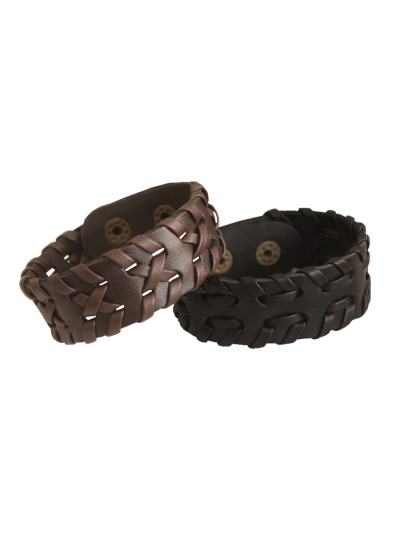 Menjewell Classic Genuine Leather Multicolor Stylish Punk Wristband Combo Bracelet