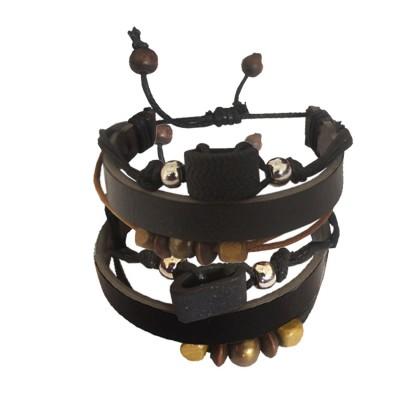 Menjewell Genuine Leather Beads Braid Wrap Rope Design Multistrand Bracelet Combo