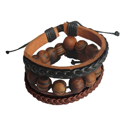 Menjewell Genuine Leather Multicolor Fancy Beads Braid Wrap Rope  Multi-Strand Combo Bracelet