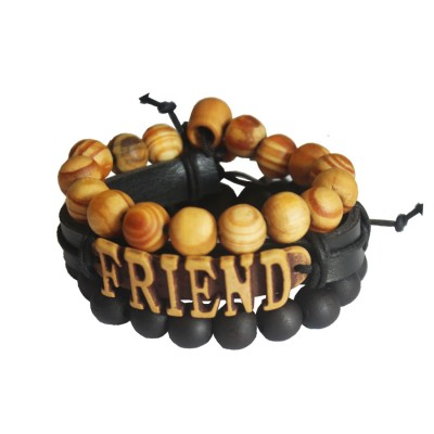 "Menjewell Genuine Leather Multicolor "" Friends""Fancy Beads Braid Wrap Rope Multi-Strand Combo Bracelet"