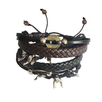 Menjewell Charm Fish Braid Wrap Rope  Multi-Strand Combo Leather Bracelet Set