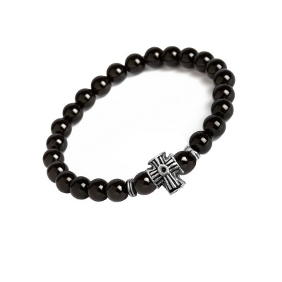 New Classic Collection Silver::Black Handmade Jesus Christ Cross And Black Onyx Stone Beads Bracelet For Men