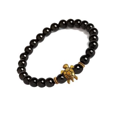New Classic Collection Gold::Black Handmade Tortoise Charm And Black Onyx Stone Beads Bracelet For Men
