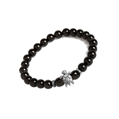 New Classic Collection Silver::Black Handmade Tortoise Charm And Black Onyx Stone Beads Bracelet