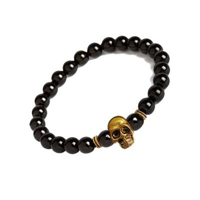 New Classic Collection Gold::Black Handmade Human Skull design Onyx Stone beads Bracelet