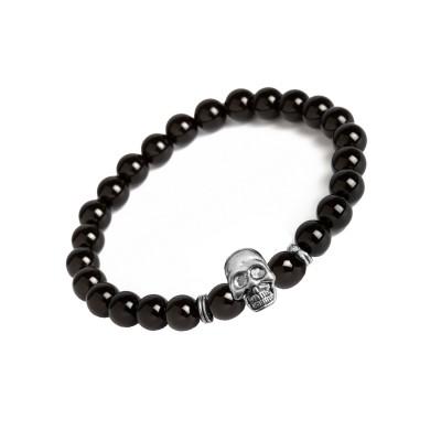 New Classic Collection Silver::Black Handmade Human Skull design Onyx Stone beads Bracelet