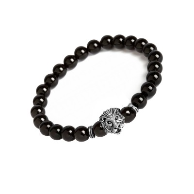 New Classic Collection Silver::Black Handmade Buddha Leo Lion Head With Black Onyx Stone Beaded Bracelet