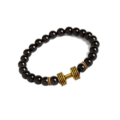 Valentines Day Special Gold::Black Handmade Barbell/Dumbbell charm And Black Onyx Beads Design Bracelet