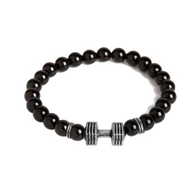 Valentines Day Special Silver::Black Handmade Barbell/Dumbbell charm And Black Onyx Beads Design Bracelet For Men