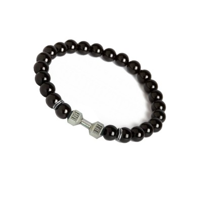 Valentines Day Special Silver::Black Handmade Barbell/Dumbbell charm And Black Onyx Beads Design Bracelet