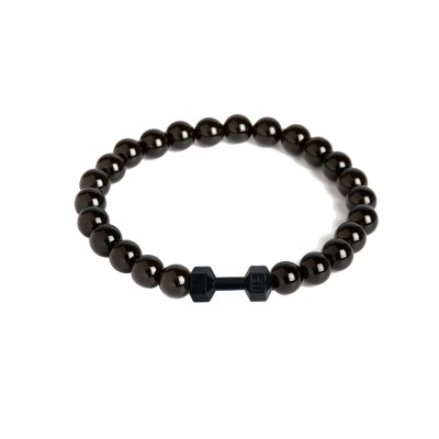 Valentines Day Special Black Handmade Barbell/Dumbbell charm And Onyx Beads Design Bracelet