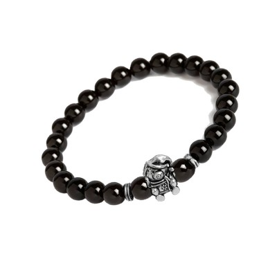Valentines Day Special Silver::Black Handmade Onyx Stone Beads With Teddy Bear Charm Design Bracelet