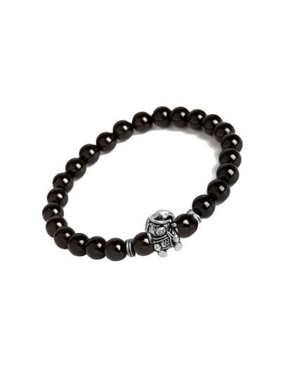 Valentines Day Special Silver::Black Handmade Onyx Stone Beads With Teddy Bear Charm Design Bracelet