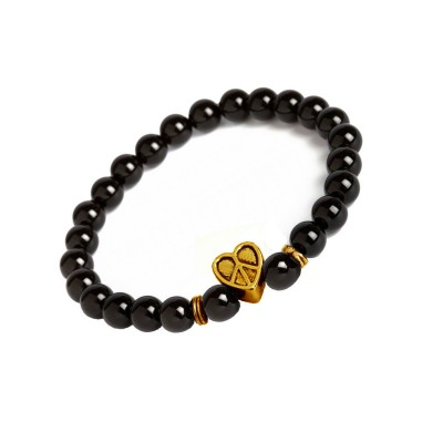Valentines Day Special Gold::Black Handmade Onyx Stone Beads With Hollow Peace in Heart Charm Design Bracelet