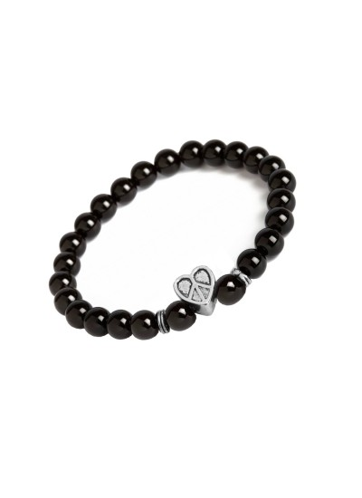 Valentines Day Special Silver::Black Handmade Onyx Stone Beads With Hollow Peace in Heart Charm Design Bracelet