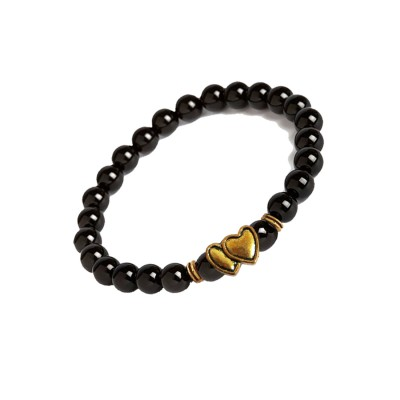 Valentines Day Special Gold::Black Handmade Onyx Stone Beads With Connecting Two Heart Charm Design Bracelet