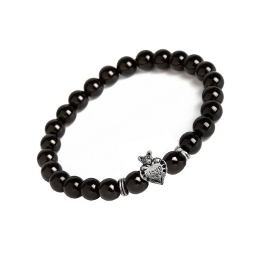 Valentines Day Special Silver::Black Handmade Onyx Stone Beads With Teddy Bear Love Heart Charm Design Bracelet For Boys