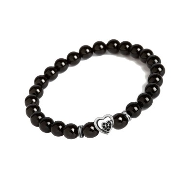 Valentines Day Special Silver::Black Handmade Onyx Stone Beads With Love Heart Charm Design Bracelet For Men