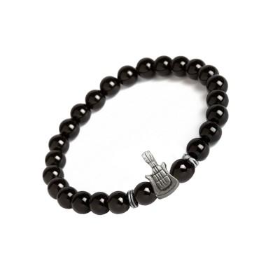 Valentines Day Special Silver::Black Handmade Black Onyx Stone Guitar Charm Beads Bracelet