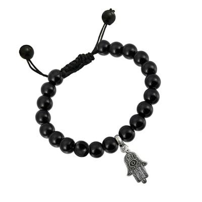 Valentines Day Special Silver::Black Handmade Black Onyx Evil Eye On Hand Bead Bracelet
