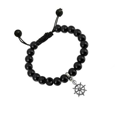 Silver::Black Handmade Black Onyx Boat Steering Wheel Bracelet