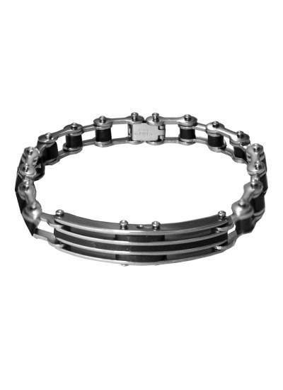 Black Dual Tone link Stainless steel Bracelets