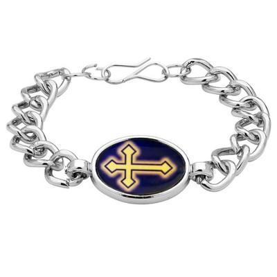 Silver  Christ Cross Fashion REligious  Bracelet