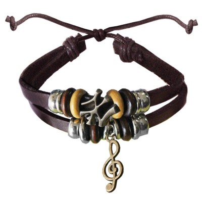 Black  Music symbol Charm Fashion Bracelet