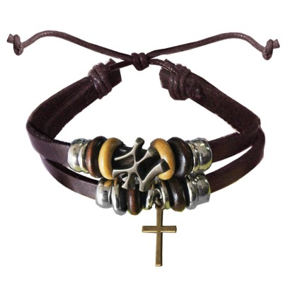 Brown  Christ cross charm fashion Bracelet