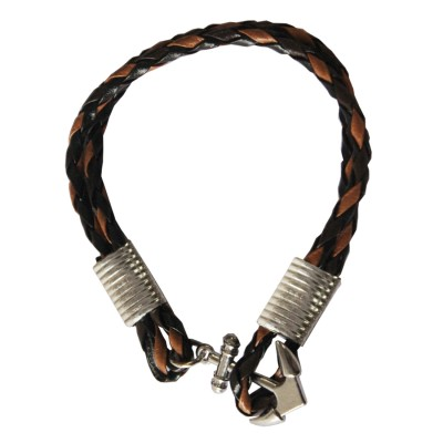 Brown::Black Anchor Lock Wrap Fashion Bracelet
