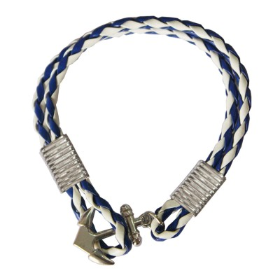 Blue::White Anchor Lock Wrap Fashion Bracelet