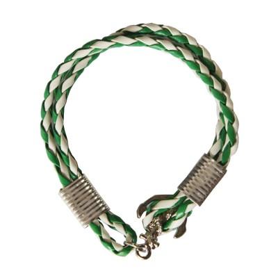 Green::White Anchor Lock Wrap Fashion Leather Bracelet