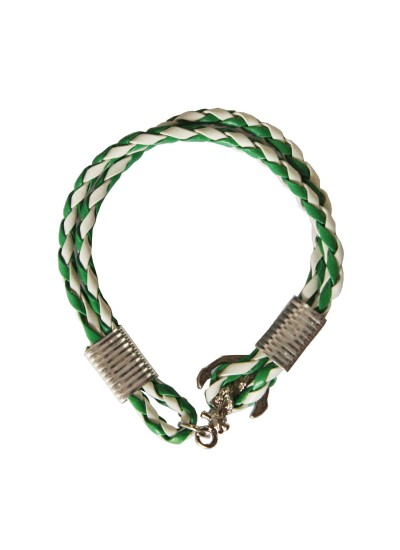 Green::White Anchor Lock Wrap Fashion Leather Bracelet