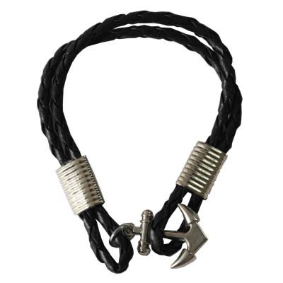 Black Anchor Lock Wrap Fashion Bracelet