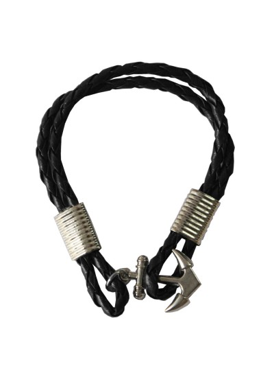 Black Anchor Lock Wrap Fashion Bracelet