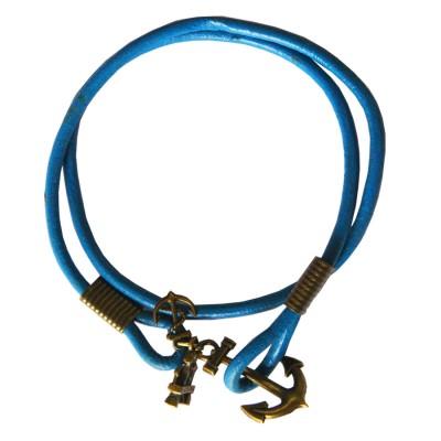 Anchor Lock Wrap Blue Fashion Leather Bracelet