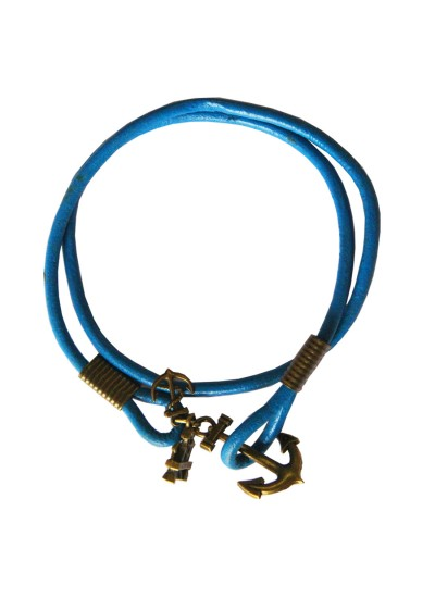 Anchor Lock Wrap Blue Fashion Leather Bracelet