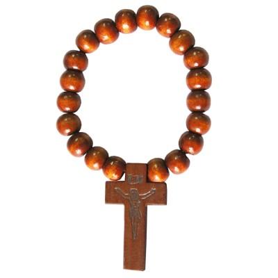 Beige Wood Bead Christ cross charm Wooden Religious Bracelet