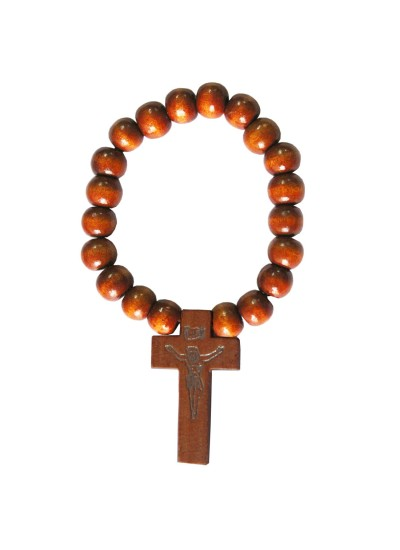 Beige Wood Bead Christ cross charm Wooden Religious Bracelet