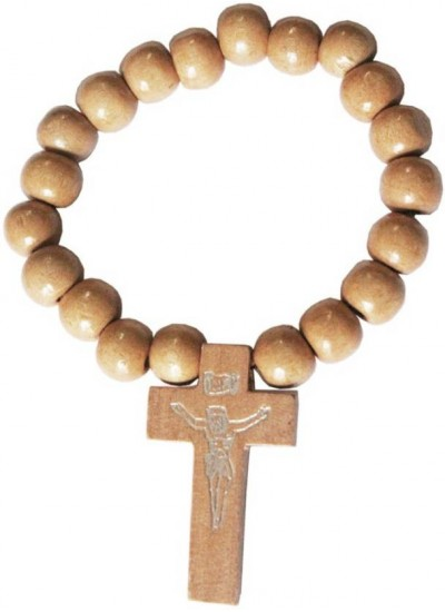 Beige Wood Bead Christ cross charm wood Religious Bracelet