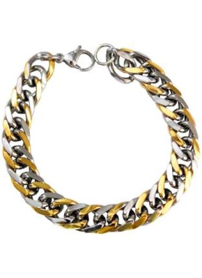Mens Fashion Jewellery Gold::Silver Dual Tone Fashion Chain Link   Bracelet