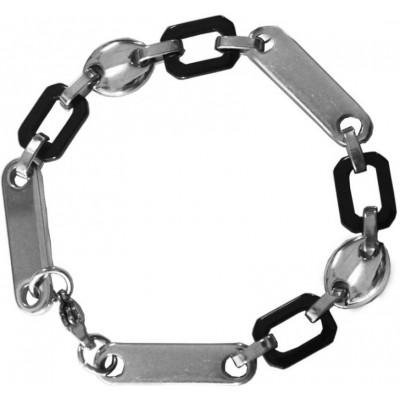 Elegant  Black::Silver  Flat Link Chain Fashion Bracelet