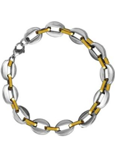 Gold::Silver Box Byzantine Chain LinkFashion Stainless steel Bracelets